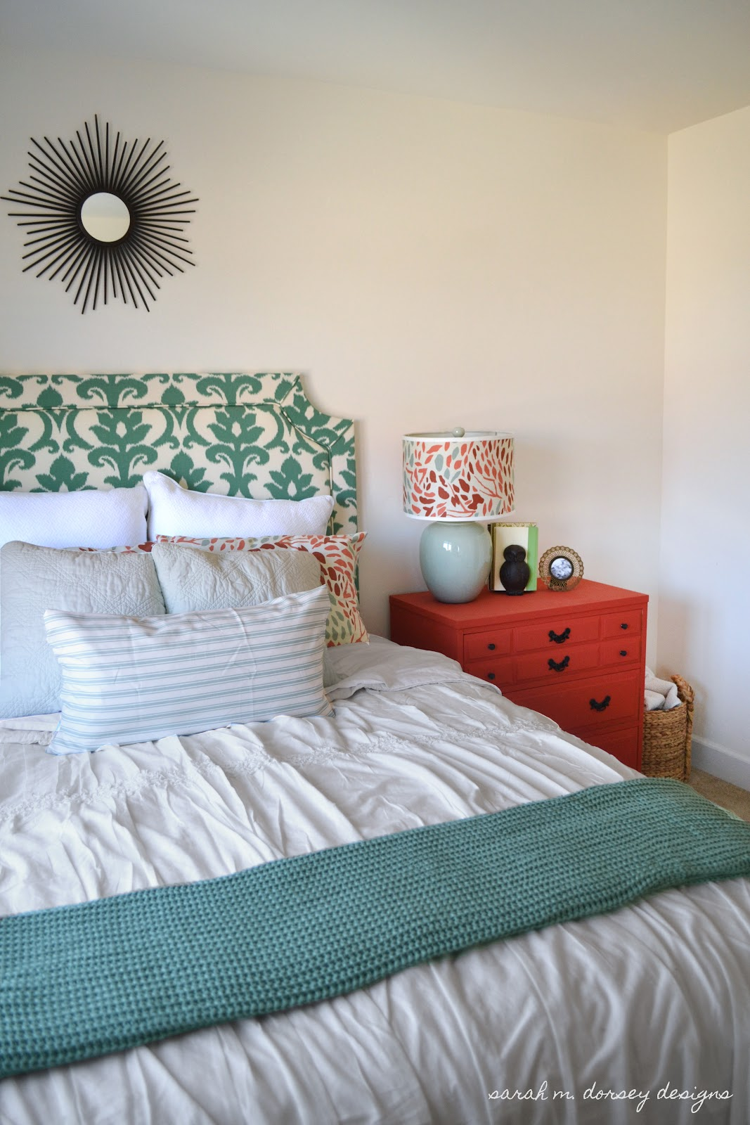 Sarah m dorsey designs guest bedroom updates for Small mirrors above bed
