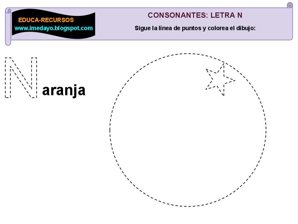EDUCARECURSOS Consonantes Letra N