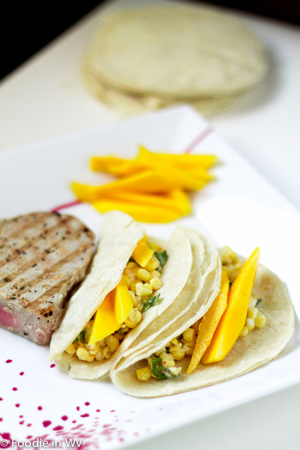 Tuna, Cotija and Corn Tacos with Lime and Mango