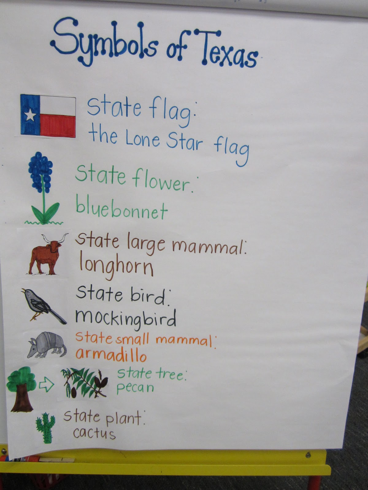 The following week we discussed the different Texas symbols.