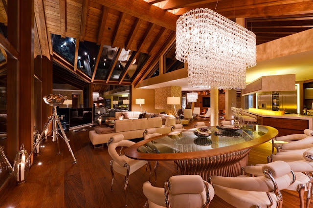 Picture of modern mountain home interiors as seen from the dining room