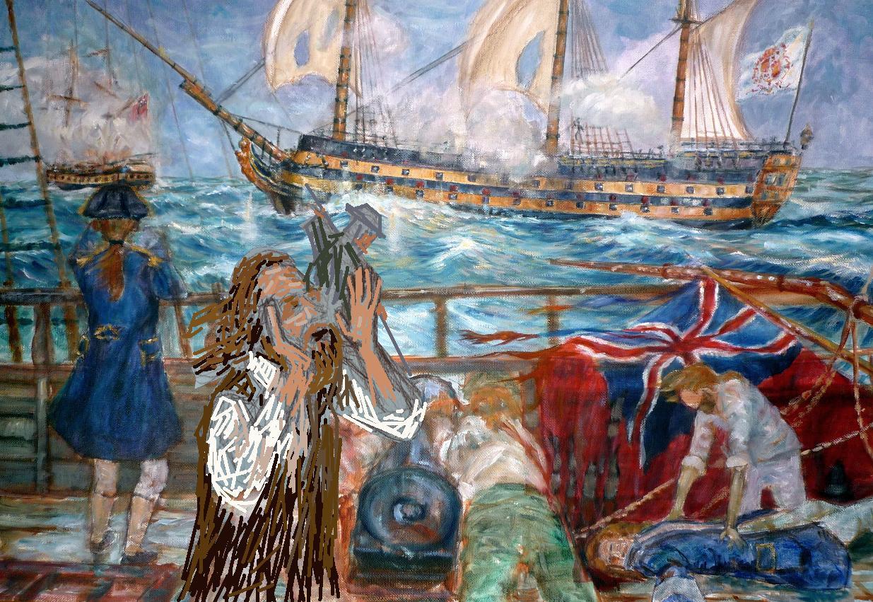 """buque """"El Glorioso"""" visto desde la cubierta del buque atacante ingles"""