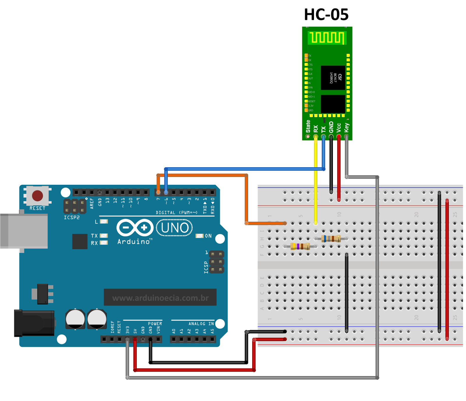 Connect an Arduino to a 7 Bluetooth Serial Module