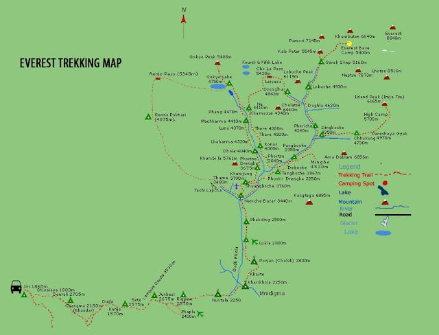 Map of everest trekking
