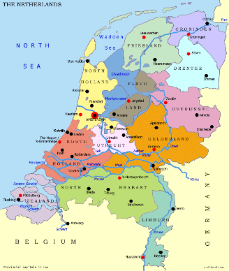 Map of Netherlands Political Regional Province