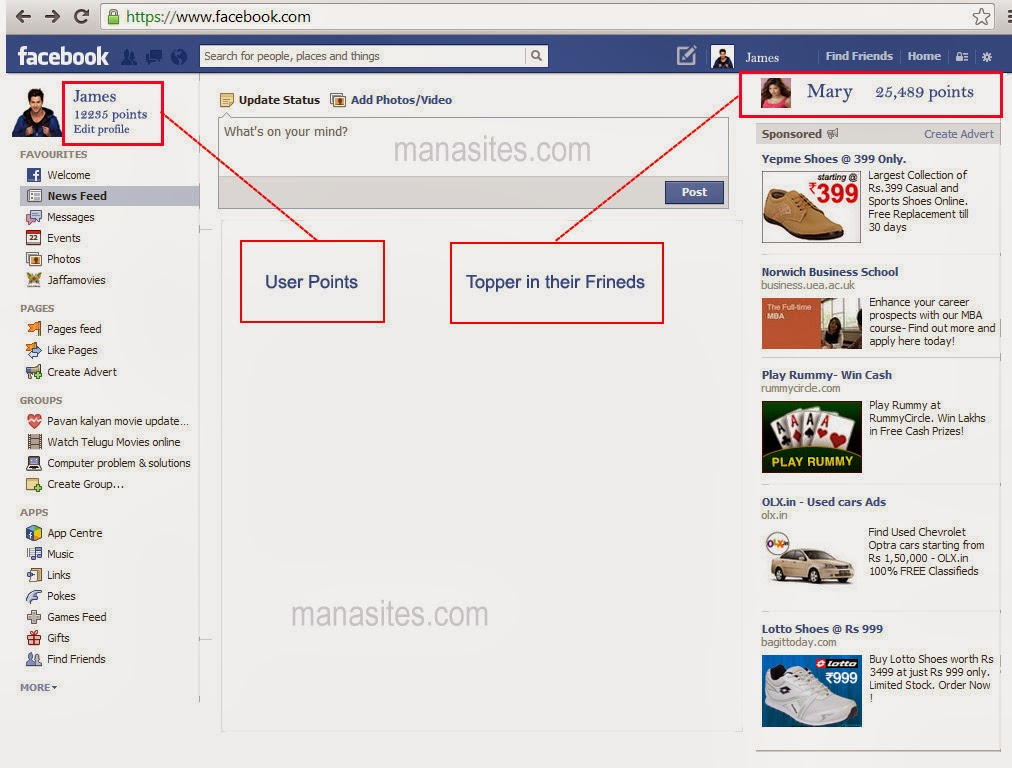Facebook User HOme page