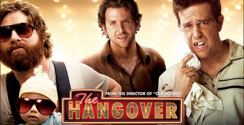 Zack Galifianakis, Bradley Cooper, and Ed Helms star in THE HANGOVER