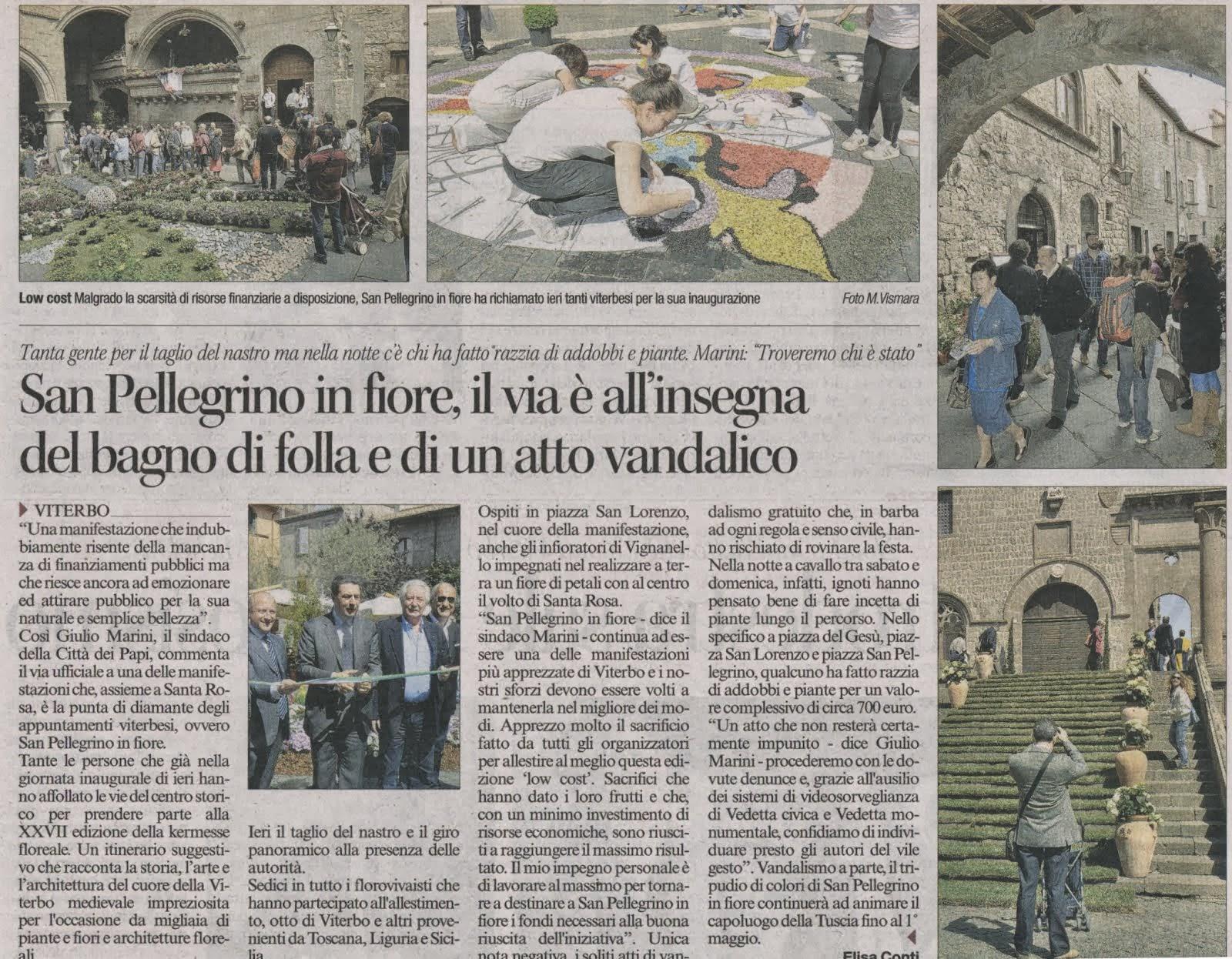 Viterbo: San Pellegrino in fiore, il via è all'insegna del bagno di folla e di un atto vandalico