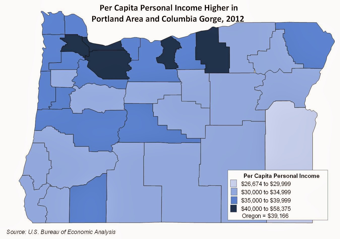 Oregon Workforce And Economic Information Oregon County And Metro - Us counties per capita income
