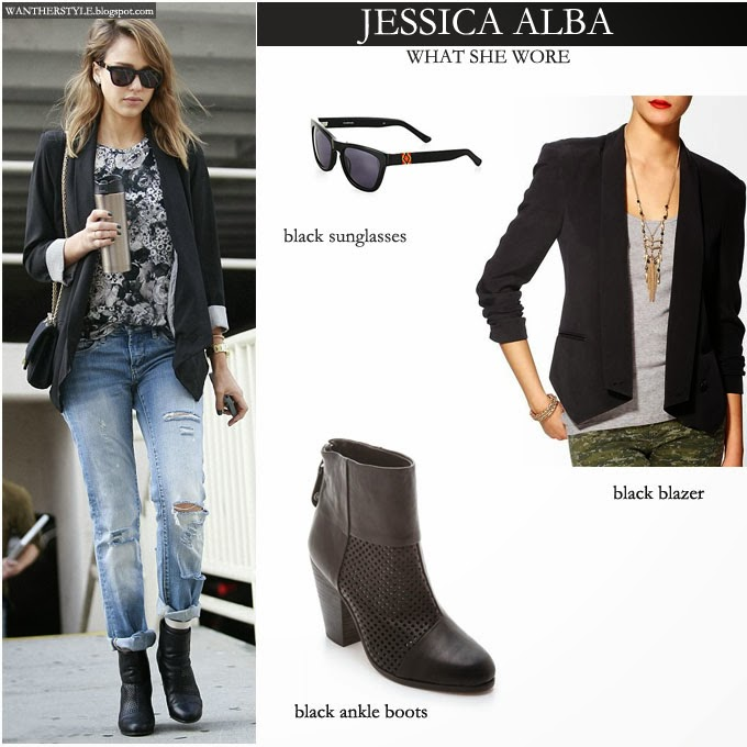 what she wore jessica alba in black jacket with