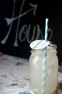 lemonade mason jar paper straw