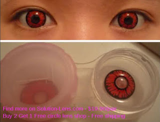 Lentes de contato vermelhas nos olhos e fora dos olhos