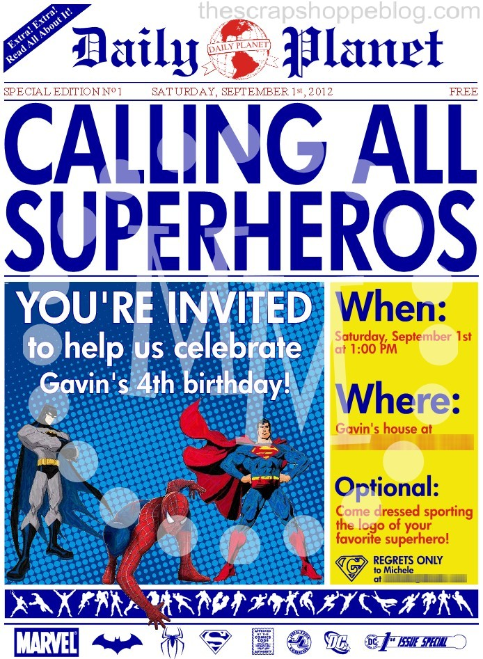 Superhero Newspaper Birthday Invitation - The Scrap Shoppe
