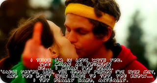 Juno & Bleeker kissing with a caption of dialogue overlaid
