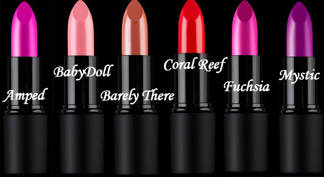 True Color Lipstick (Sleek MakeUp) - Amped, Coral Reef, Baby Doll, Mystic, Barely There e Fuchsia