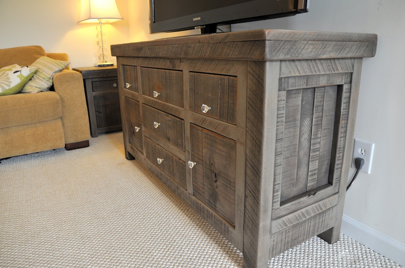 Rustic buffet table furniture - Rustic Entertainment Console Buffet End Tables Rustic Slate Gray