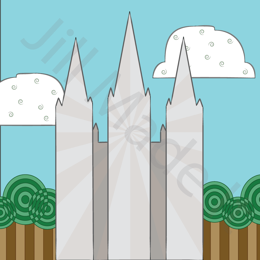 Salt Lake City Temple Illustration with Illustrator