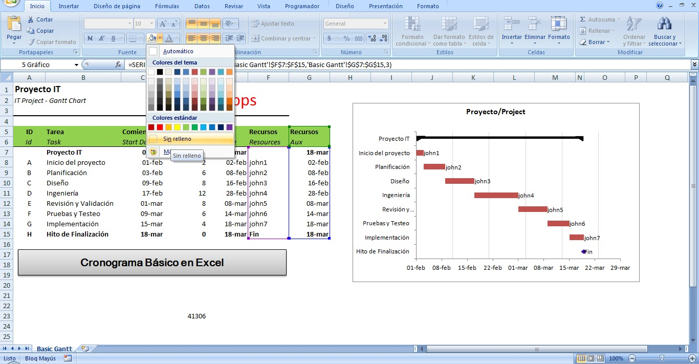 tenemos nuestro cronograma en excel completo con tarea de resumen y recursos