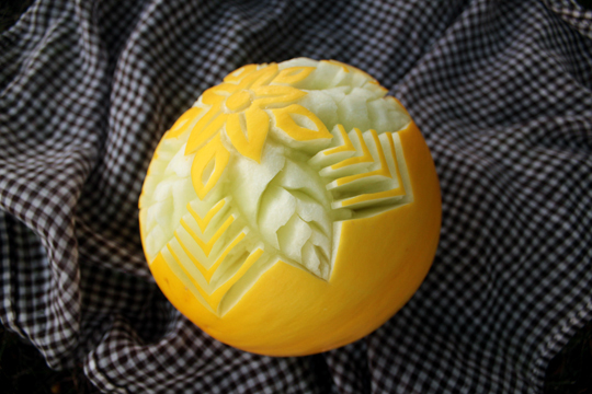 photo of carved melon