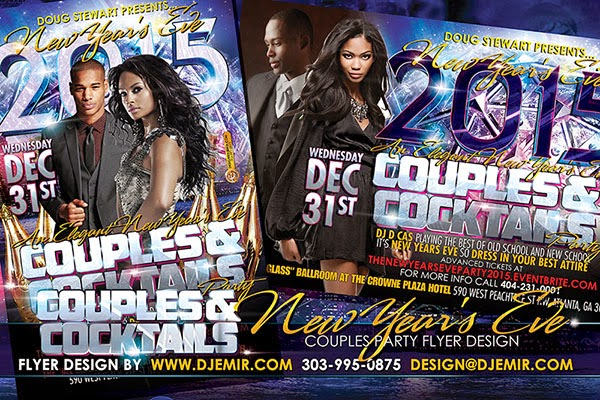 Couples and Cocktails Grown And Sexy New Year's Eve Flyer Design Atlanta Georgia Front & Back