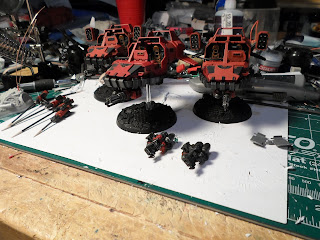 Blood Raven Land speeders partially painted and assembled.