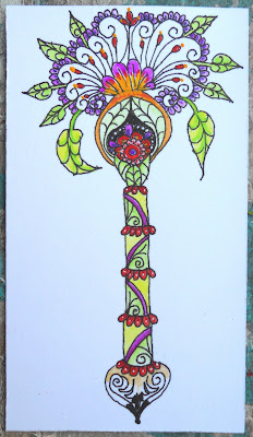 Acrylic and ink illustration of a whimsical flower with leaves hanging around its petals