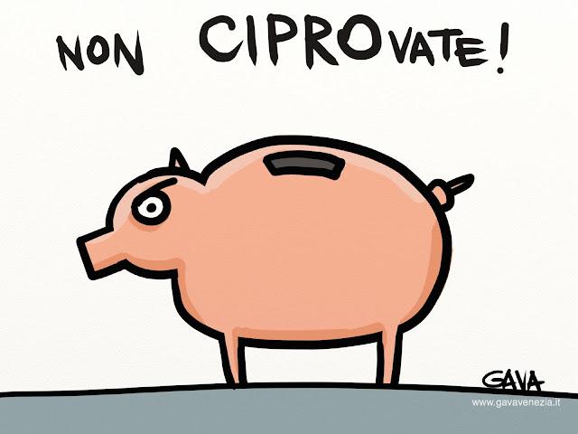gava gavavenezia vignette satira ridere piangere pensare caricature fumetti immagine google maiale maialino risparmi soldi banche prelievo europa crisi furto rosa grigio
