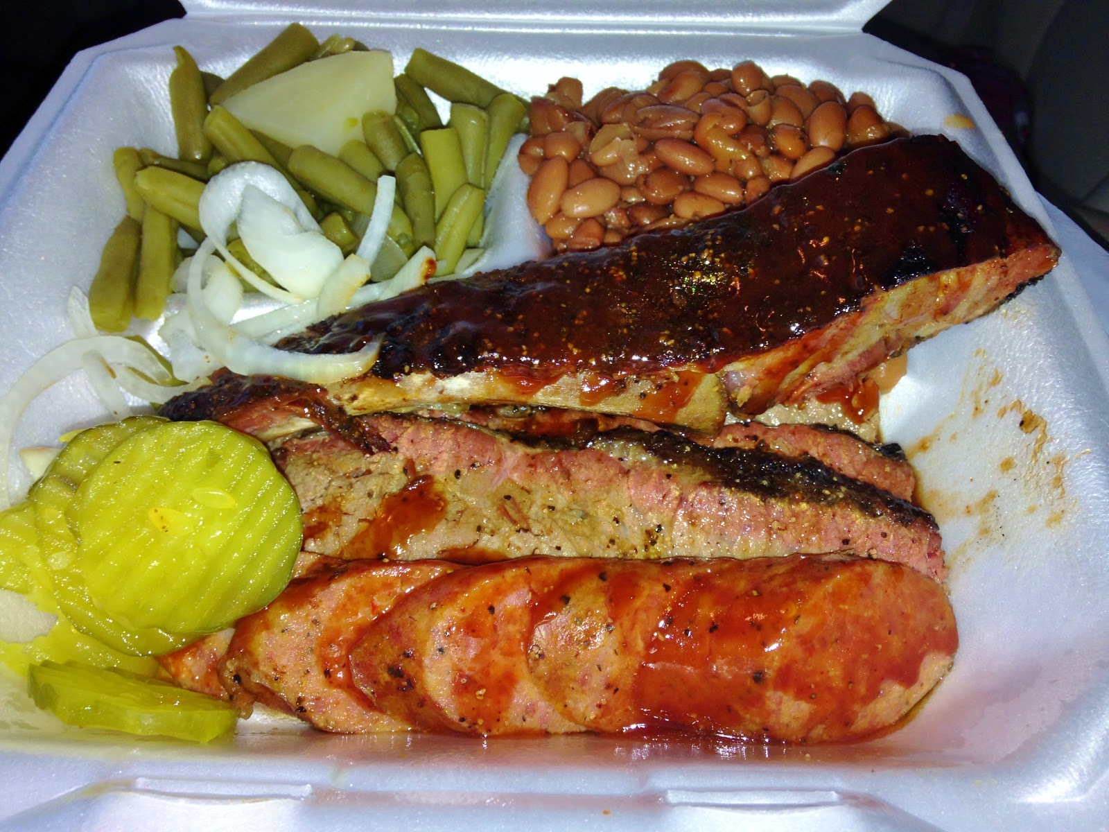 Three Meat Plate: Brisket, Pork Ribs, Sausage