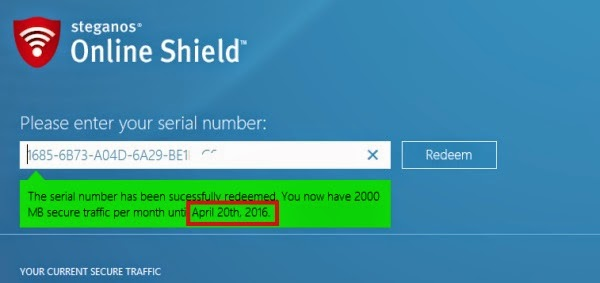 Get a FREE serial number for Steganos Online Shield VPN
