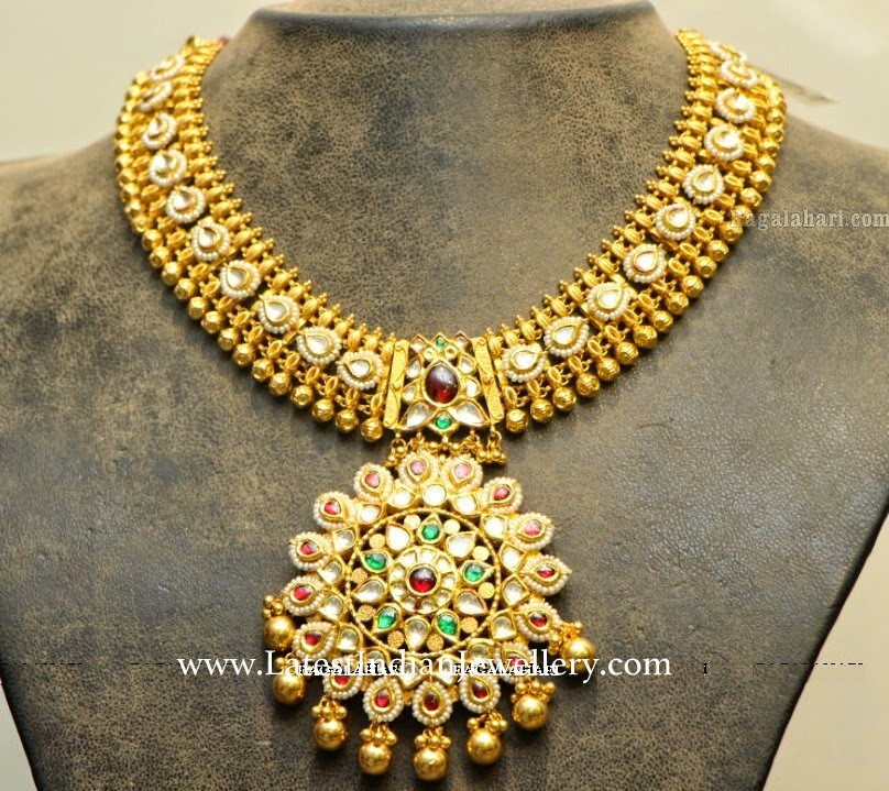 Classy Antique Bridal Necklace Kundans