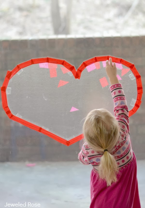 Sticky heart collages that double as beautiful suncatchers once kids are done creating- FUN!