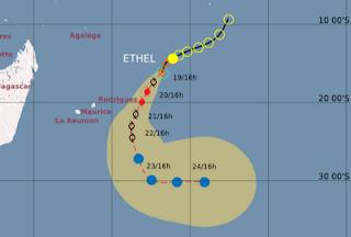 Tropischer Sturm ETHEL wird Rodrigues wahrscheinlich als Hurrikan erreichen