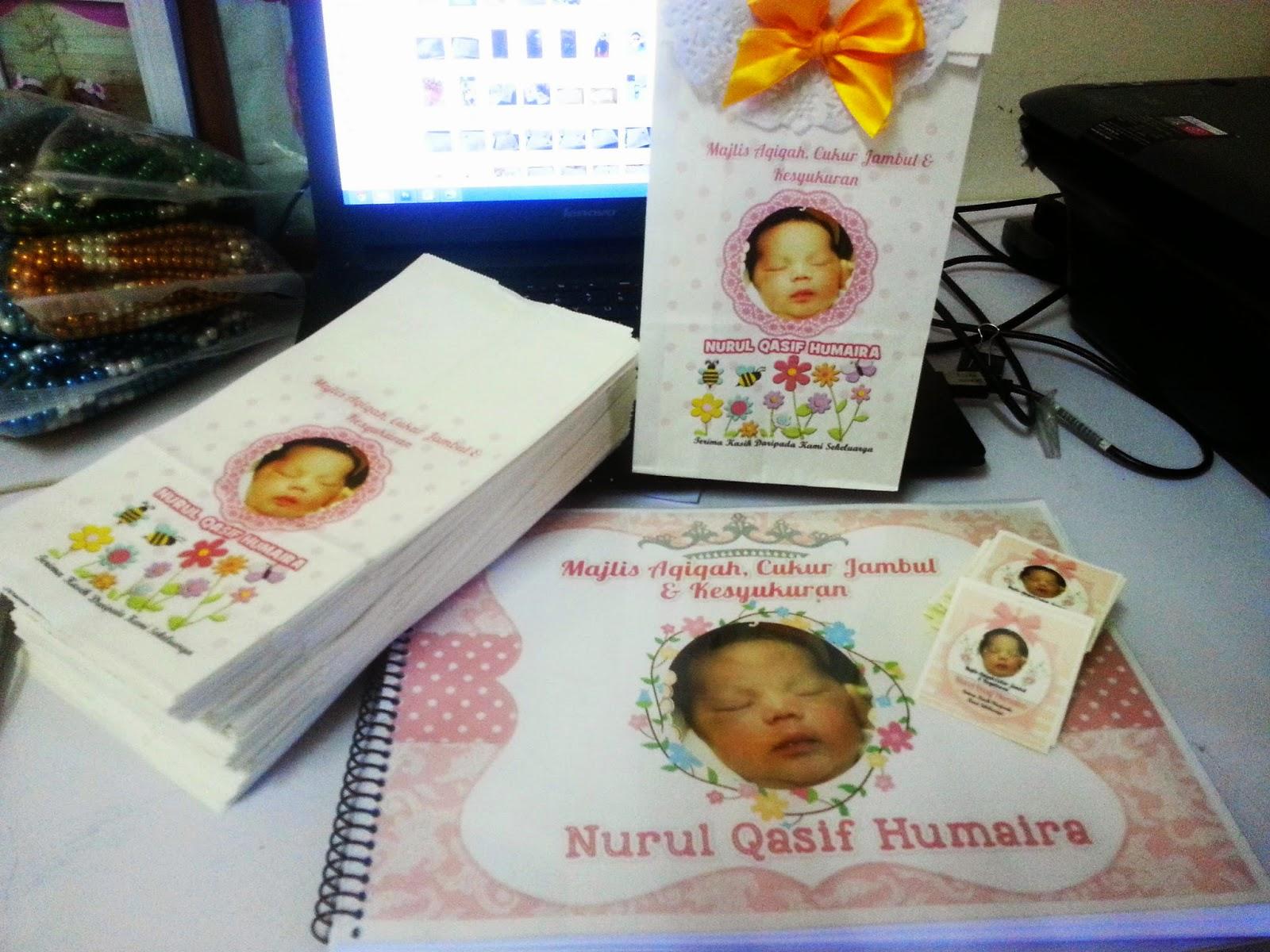Printed paper bag sticker dan guest book dengan custom for Idea doorgift untuk aqiqah