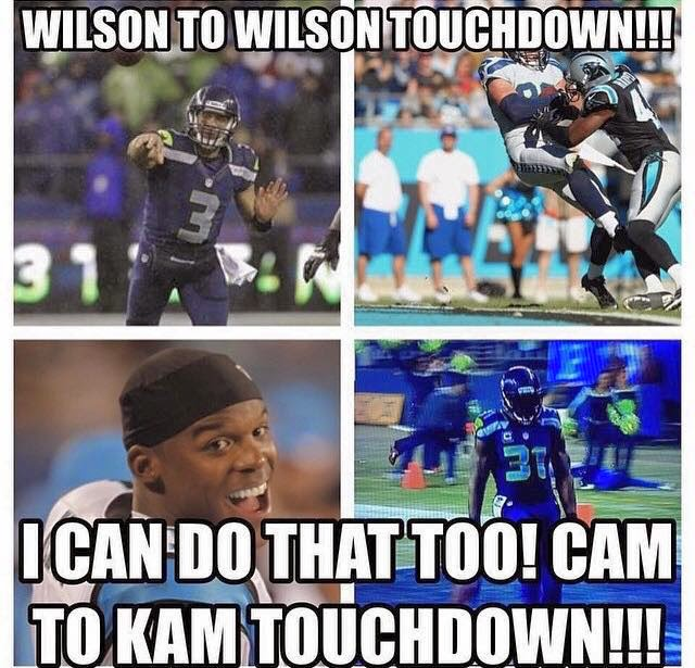 wilson to wilson touchdown!!! I can do that too! Cam to kam touchdown!!!