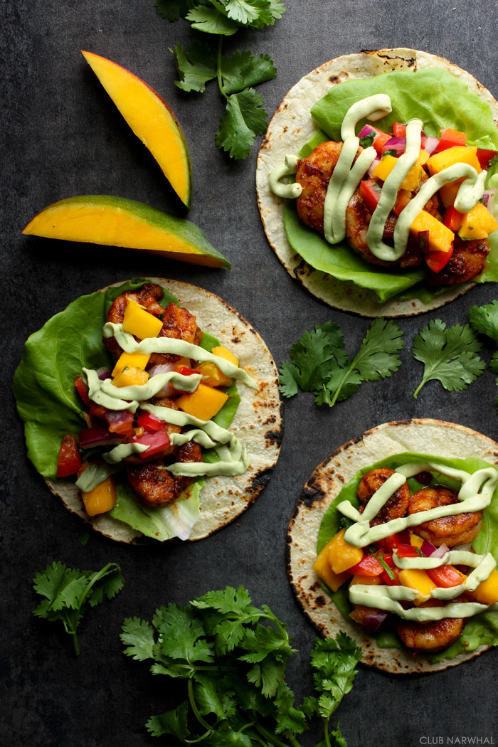 Blackened Shrimp Tacos with Mango Salsa | Club Narwhal