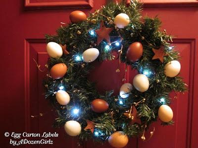 DIY Christmas wreath using blown eggs and homemade cinnamon ornaments