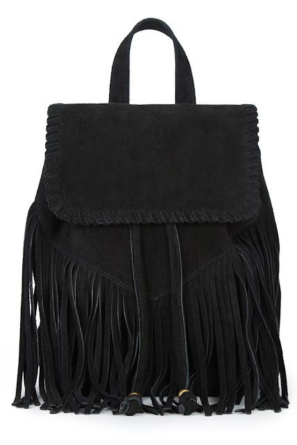 black suede fringed bag, fringed rucksack,