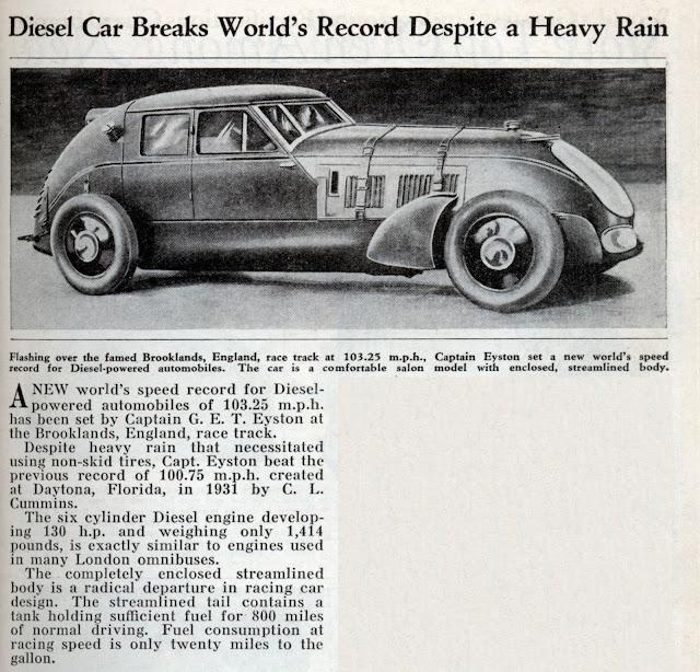 Diesel Car Breaks World's Record Despite a Heavy Rain (Feb, 1934)