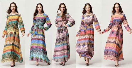 Latest Collection A Shape Bohemia Printed Dress Dengan Design Bercorak Yang Sangat Cantik