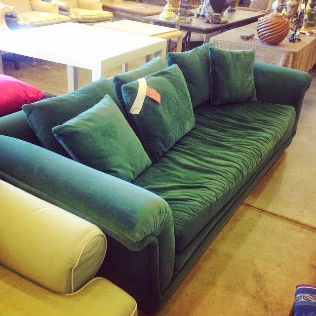 #thriftscorethursday Week 52 | Instagram user: the_gathered_home shows off this Emerald Green Velvet Sofa
