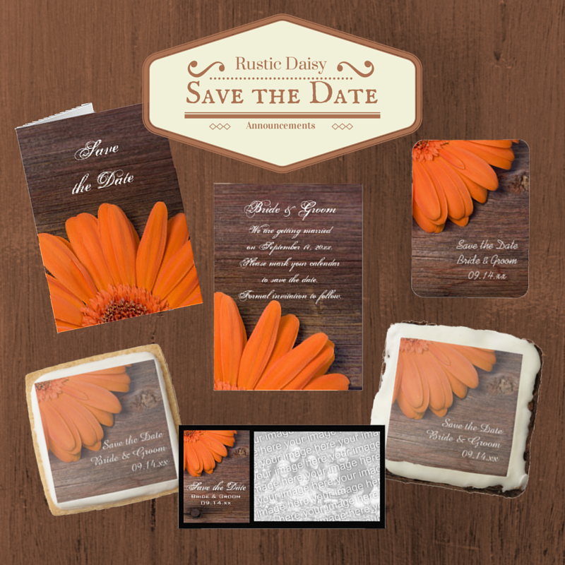 Rustic Orange Daisy Save the Date Announcements