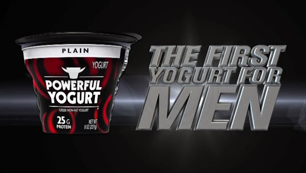 "Image of a yogurt cup that says ""POWERFUL YOGURT"" and a bull-like logo next to the text ""THE FIRST YOGURT FOR MEN."""