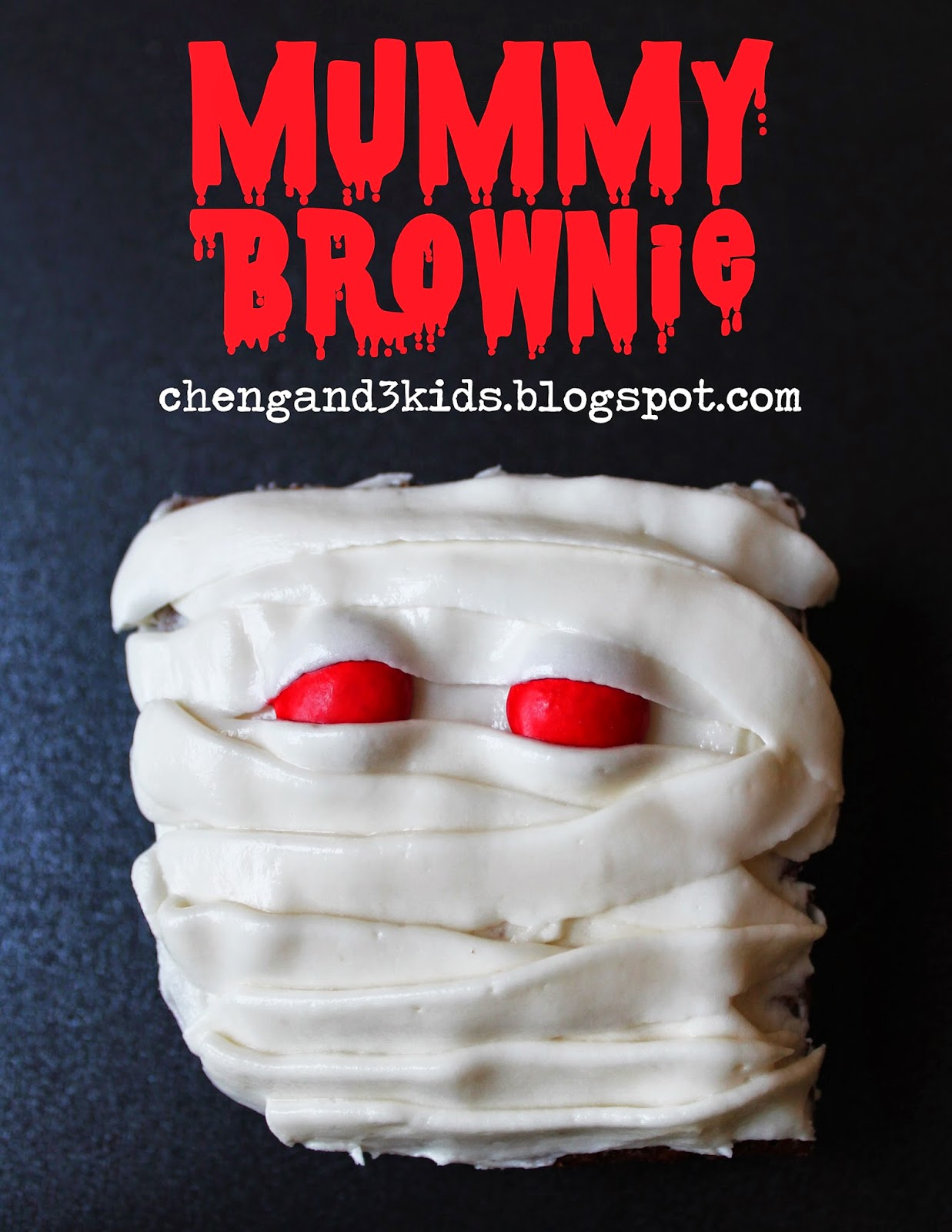 Mummy Brownie for Halloween by chengand3kids.blogspot.com