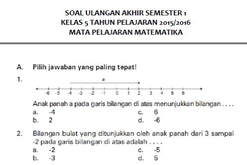 Soal UAS Matematika Semester 1 Kelas 5 SD\/MI