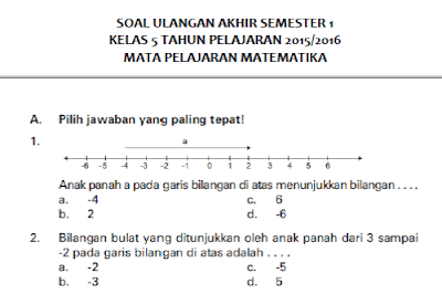 Soal UAS Matematika Semester 1 Kelas 5 SD/MI