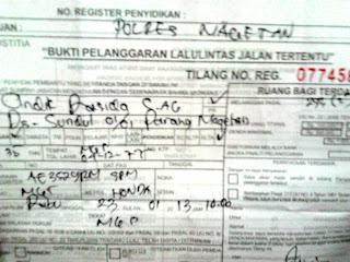 Surat Tilang Kendaraan Bermotor