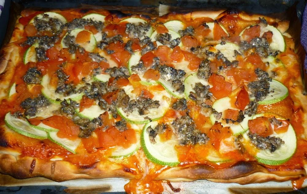 pizza sardinas y calabacín