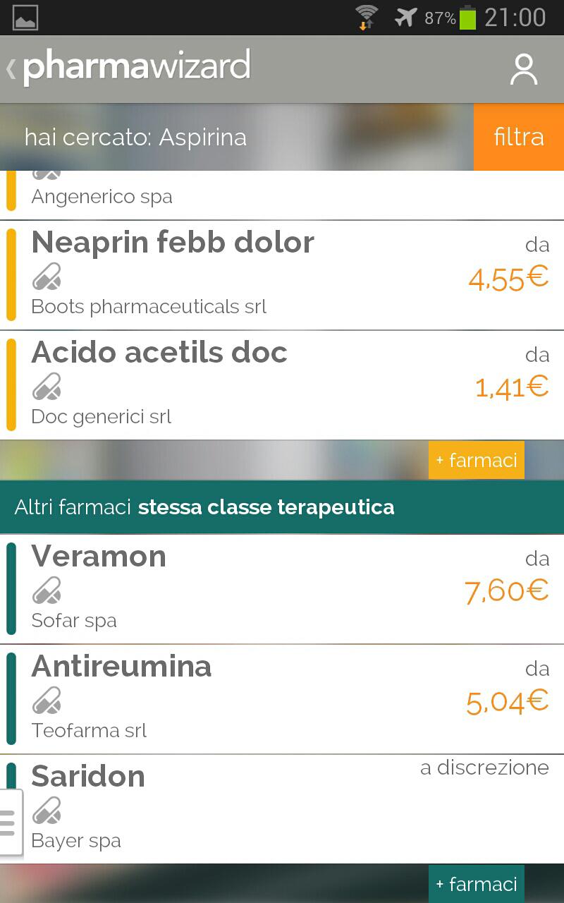 schermata lista farmaci dopo una ricerca swipando verticalmente in pharmawizard