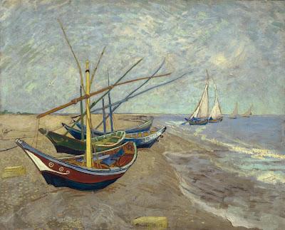 Van Gogh Fischerboote am Strand von Saintes-Maries-de-la-Mer (1888).