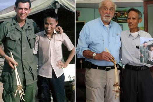 (Gambar kanan) Axelrad (kiri) menunjukkan tulang tangan kanan Quang Hung.  (Gambar kiri) Axelrad bersama Quang Huang ketika era Perang Vietnam, pada tahun 1966.